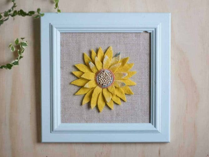 Wife-made Sunflower Wool Collage Wall Art